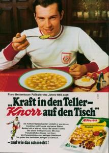Fußball-Profis, hier Franz Beckenbauer, sind für Wirtschaftsunternehmen wie Knorr als Werbepartner interessant (Bildrechte: Knorr/Horizont)