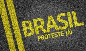 Brasil, Proteste J! written on the road (in portuguese)