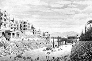 Victorian engraving of the Circus Maximus, Rome. Digitally restored image from a mid-19th century Encyclopaedia.